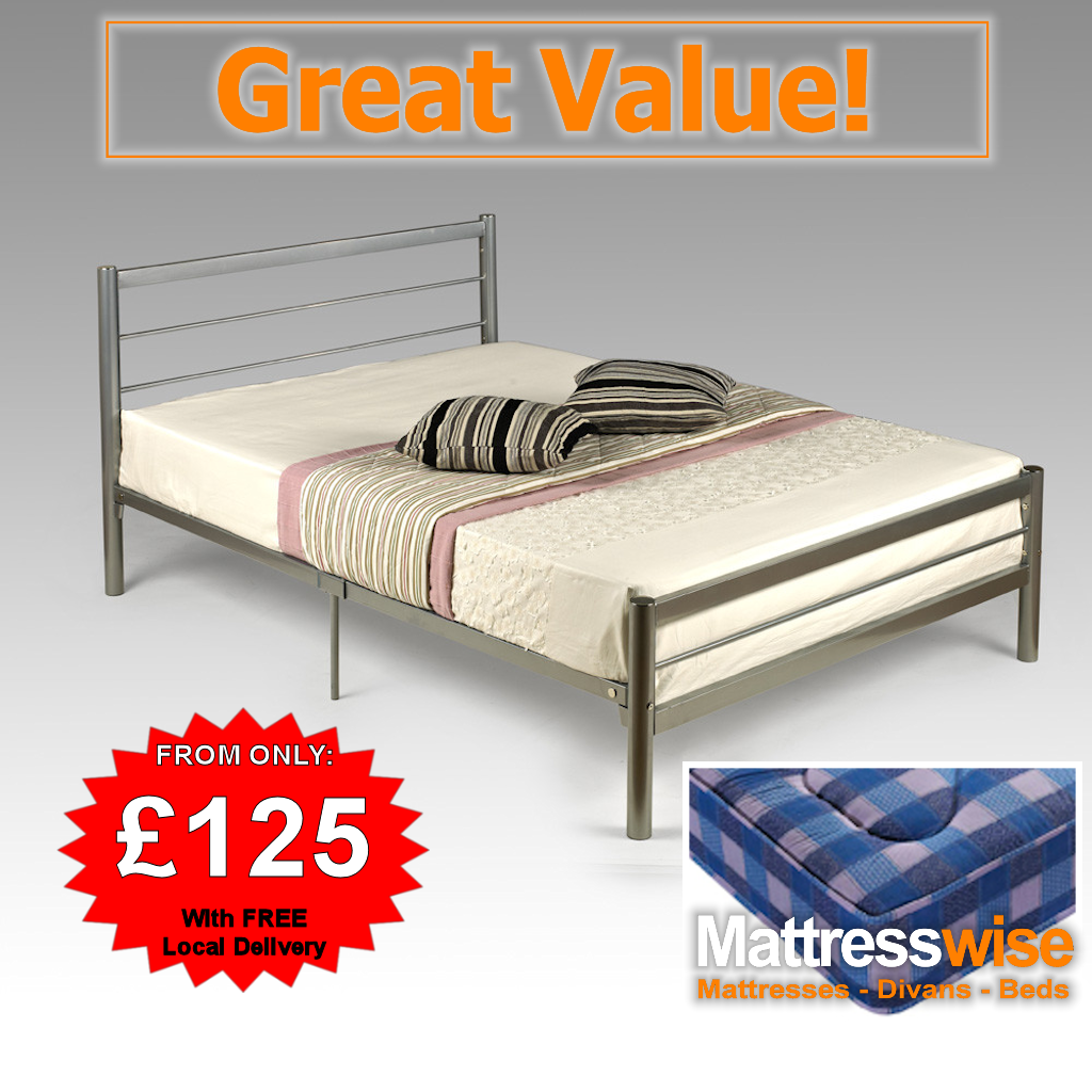 Single Silver Metal Bed + Soft Open-Sprung Eco Mattress