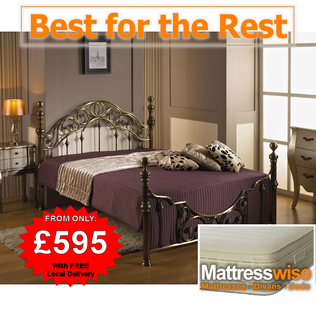Polished Metal Bed + Pocket-Sprung Memory Mattress